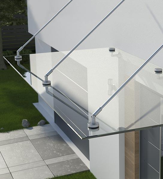 Glas-Vordach in Stuttgart